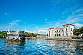 Vizcaya Museum and Gardens, Renaissance Italianate 1910, stone barge  Biscayne Bay  Miami  Florida  USA