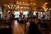 France, Meurthe-et-Moselle, Lorraine Region, Nancy, Brasserie Excelsior, art-nouveau style cafe interior, NR
