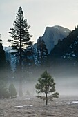Spring sunrise light behind Half Dome, Yosemite Valley, Yosemite National Park, California