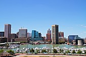 Maryland, Baltimore, Federal Hill Park, Inner Harbor, Patapsco River, port, waterfront, skyline, office building, marina, boat, view
