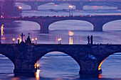 architecture, Bohemia, bridge, building, Charles bridge, city, cityscape, Czech, dusk, Europe, evening, historic, landmark, lights, old, outdoors, Prague, praha, republic, river, scene, town, travel, urban, view, Vltava, water. architecture, Bohemia, brid