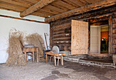 Old Fashioned Cabin Front With a Sharpening Stone, Estonia