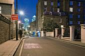 Urban Street in East London at Night, London, U.K.