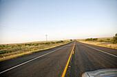 Car Hood Along Rural Highway, Texas, USA