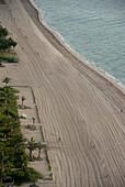 Sandy Beach and Coast, High Angle View, Miami Beach, Florida, USA