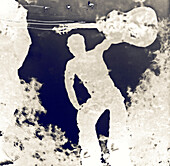 Negative Reflection of Man With Guitar