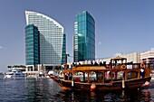The Festival City marina with the Intercontinental Hotel in Dubai, UAE, Persian Gulf