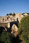 Fortified bridge, XI-XIII century Besalu Garrotxa Girona Catalunya Spain