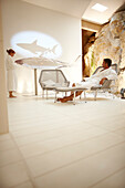Couple in relaxation room of spa area in a hotel, Ramatuelle, Provence-Alpes-Cote d'Azur, France