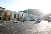 Street through colourful houses of Malay Quarter Bo-Kaap, Signal Hill, Cape Town, South Africa, Africa