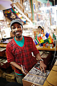 Lelethu at The African Music Store record shop, Long Street, City Centre, Cape Town, South Africa, Africa