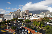 Crossing and skyscrapers in Central, Kloof Nek Road, below Signal Hill, Gardens, Cape Town, South Africa, Africa