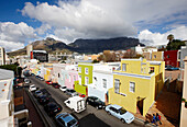 Street through colorful houses of Malay Quarter Bo-Kaap, Signal Hill, Cape Town, South Africa, Africa