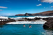 Natural swimming pool in front of the surf, Puerto de las Nieves, Gran Canaria, Canary Islands, Spain