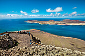 View from the restaurant and viewpoint, Mirador del Rio, architect Cesar Manrique, Lanzarote, Canary Islands, Spain, Europe