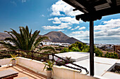 View from a terrace onto Yaiza, Lanzarote, Canary Islands, Spain, Europe