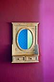 Mirror on a coloured wall, Lanzarote, Canary Islands, Spain, Europe