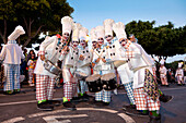 Disguised people at carnival procession, Arrecife, Lanzarote, Canary Islands, Spain, Europe