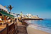 Illuminated seaside promenade, Playa Blanca, Lanzarote, Canary Islands, Spain, Europe