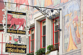 Painted fassade of building with old-fashioned sign at the marketplace in Stein am Rhein, Stein am Rhein, Switzerland