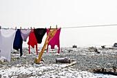 Washing on the washing line, Wasserburg, Lake Constance, Bavaria, Germany