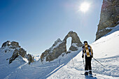 Person skiing, Tignes, Val d Isere, Savoie department, Rhone-Alpes, France