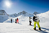 Snowborders and skiers at the ski resort, Tignes, Val d Isere, Savoie department, Rhone-Alpes, France