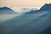 Bavarian foothills seen from the Alpspitze, Werdenfelser Alps, Bavaria, Germany