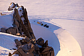 High angle view of base camp underneath Aiguille du Midi, Chamonix Mont Blanc, France, Europe