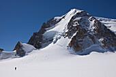Ski touring below Mont Blanc du Tacul, Chamonix Mont Blanc, France, Europe