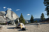 Half Dome mountain and tent in the sunlight, Yosemite National Park, California, USA, America
