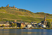 View of Alken with Moselle river and Thurant castle, Rhineland-Palatinate, Germany, Europe
