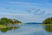 View of fjord close to Marstrand, Bohuslan, Vastra Gotalands lan, Sweden, Europe