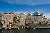 Houses on ocks above the harbour of Smogen, Smogen, Bohuslan, Vastra Gotalands lan, Sweden, Europe