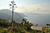 Westcoast of the Island of Lipari with Island of Vulkano, Aeolian Islands, Sicily, Italy