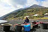 Fisherman untangles his net, at the beach on the Island of Stromboli, Island of Stromboli, Aeolian Islands, Sicily, Italy