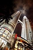 Night view of the Petronas Twin Towers, Kuala Lumpur, Malaysia