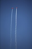 Planes in flight leaving smoke trail during the Aerial Exhibition in Málaga, Andalusia, Spain