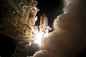 Discovery Lifts off An exhaust cloud billowed around Launch Pad 39A at NASA´s Kennedy Space Center in Florida as space shuttle Discovery lifted off to begin the STS-131 mission  The seven-member crew will deliver the multi-purpose logistics module Leonard