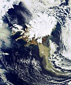 In this image taken on 19 April 2010 by ESA's Envisat satellite, a heavy plume of ash from the Eyjafjallajoekull Volcano in Iceland is seen travelling in a roughly southeasterly direction  The volcano has been emitting steam and ash since its recent erupt