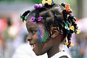 Caribbean, carnival, child, costume, festive, girl, . Caribbean, Carnival, Child, Costume, Festive, Girl, Glitter, Holiday, Landmark, Lucia, Makeup, Outdoors, People, Profile, Touris