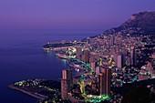aerial, carlo, coastal, dusk, Mediterranean, Monaco. Aerial, Carlo, Coastal, Dusk, Holiday, Landmark, Mediterranean, Monaco, Monte, Residential, Resort, Skyscrapers, Tourism, Travel
