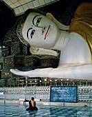 Asian, Buddha, devotee, lying, monk, Myanmar, pegu, . Asian, Buddha, Devotee, Holiday, Landmark, Lying, Monk, Myanmar, Pegu, Shwethalyaung, Statue, Tourism, Travel, Vacation, Worship
