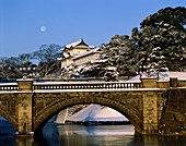 bridge, castle, imperial, imperial palace, Japan, A. Asia, Bridge, Castle, Holiday, Imperial, Imperial palace, Japan, Landmark, Palace, Snow, Tokyo, Tourism, Travel, Vacation