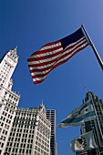 architecture, blue, building, Chicago, clock, exter. America, Architecture, Blue, Building, Chicago, Clock, Exterior, Flags, Flutter, Grand, Holiday, Illinois, Landmark, Majestic, O