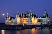 Chambord, Chambord Castle, Chateau de Chambord, Clo. Castle, Chambord, Chateau, Closson, France, Europe, Holiday, Landmark, Loire valley, Night, River, Tourism, Travel, Vacation, Vi