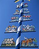 Bavaria, Germany, Maypole, the Viktualienmarkt, Mun. Bavaria, Germany, Europe, Holiday, Landmark, Maypole, Munich, The, Tourism, Travel, Vacation, Viktualienmarkt
