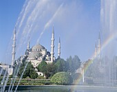 Blue Mosque, Fountain, Istanbul, Rainbow, Turkey, U. Blue mosque, Fountain, Heritage, Holiday, Istanbul, Landmark, Rainbow, Tourism, Travel, Turkey, Unesco, Vacation, World