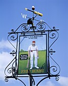 Duncton, England, Cricketers Pub Sign, W.G. Grace, . Cricketers, Duncton, England, United Kingdom, Great Britain, Grace, Holiday, Landmark, Pub, Sign, Tourism, Travel, Vacation, Wes