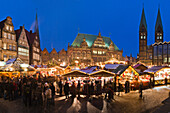 View over the christmas market at dusk in Bremen, Germany, Europe